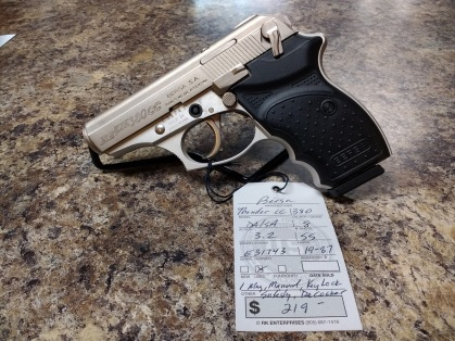 USED BERSA THUNDER 380CC, ONE 8RD MAG, MANUAL SAFETY, DECOCKER, MANUAL, AND LOCK KEY VERY GOOD CONDITION $219